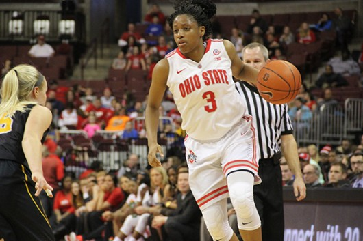 OSU then-freshman guard Kelsey Mitchell (3) dribbles the ball during a game against Iowa on Feb. 21 at the Schottenstein Center. Credit: Lantern File Photo