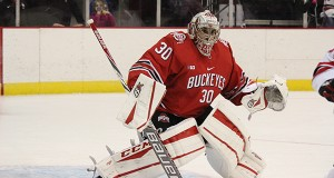 Ohio State junior goalie Christian Frey surveys the ice during an exhibition game against Brock on Oct. 3. OSU won 4-0. Credit: Kaley Rentz / Asst. Sports Director