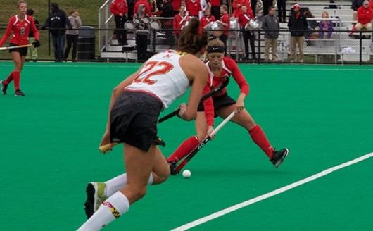 OSU sophomore midfield Morgan Kile (8) carries the ball for the on Oct. 2 against Maryland at Buckeye Varsity Field. Credit: Lantern file photo