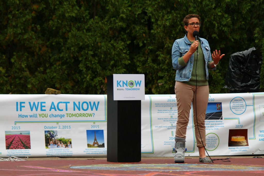Marie McConnell, a Climate Reality Project campaign member, speaks during Friday's day of action campaign for Know Tomorrow. Credit: Ris Twigg / For The Lantern