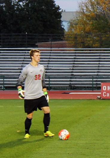 OSU senior goalkeeper Chris Froschauer (32) kicks the ball during a game against Cleveland State on Oct. 21 at Jesse Owens Memorial Stadium. OSU won 1-0. Credit: Christopher Slack / Lantern Photographer