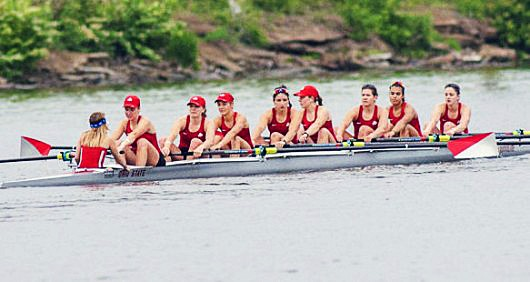 The Ohio State women's rowing team competes on May 30, 2015 at the NCAA qualifying round in Gold River, Calif. Credit: Courtesy of OSU Athletics