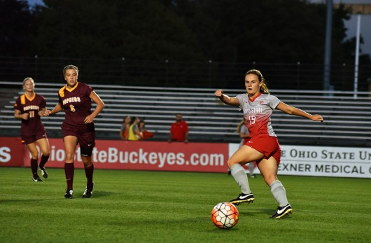 OSU sophomore forward Sammy Edwards (19) during a game against Minnesota on Sept. 17 at Jesse Owens Memorial Stadium. OSU lost 2-1. Credit: Sam Harris / For The Lantern