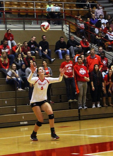 OSU sophomore outside hitter Luisa Schirmer (5) during a game against Purdue on Oct. 16 at St. John Arena. Credit: Lantern File Photo