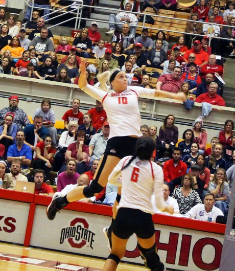 OSU then-junior middle blocker Taylor Sandbothe (10) during a game against Purdue on Oct. 16 at St. John Area.. Credit: Lantern File Photo