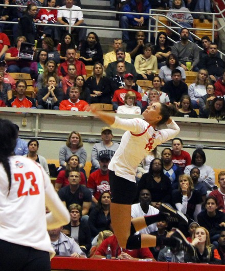 OSU senior outside hitter Elizabeth Campbell (14) during a game against Purdue on Oct. 16 at St. John Area. OSU won 3-2. Credit: Christopher Slack / Lantern Photographer