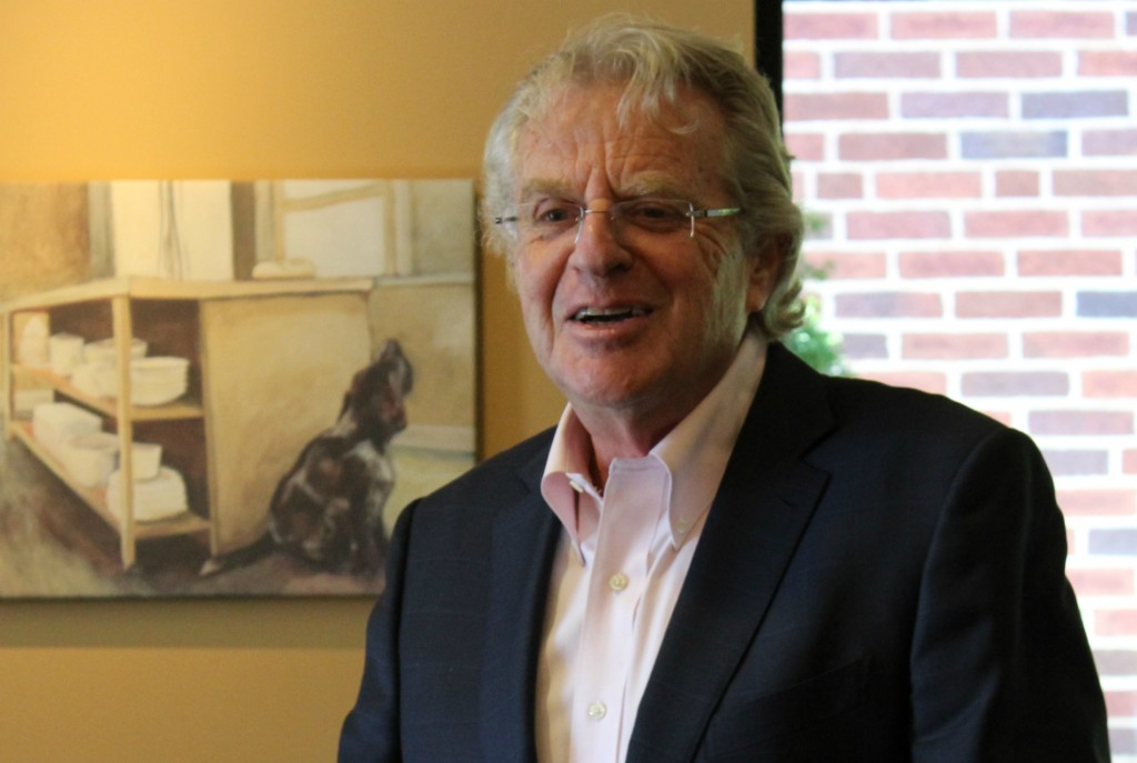 Jerry Springer, TV show personality and former Cincinnati mayor, talks to Ohio State students at Panera Bread on Oct. 15 about the upcoming 2016 election. Credit: Photo by Michael Huson / Campus Editor