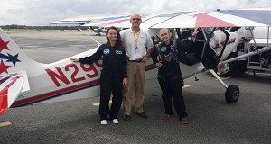 Jillian Yuricich, fourth-year in aerospace engineering, (right) with Emily Calandrelli, host of Fox's Xploration Outer Space, training with a Super Decathlon aircraft. Credit: Courtesy of Jillian Yuricich