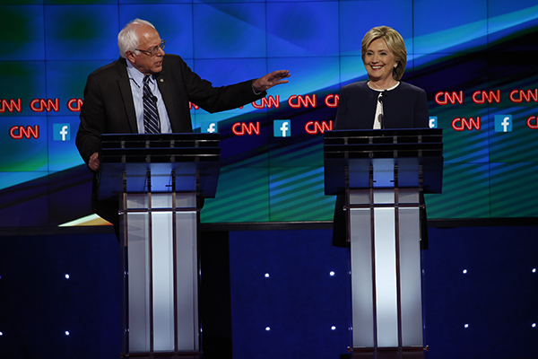 Bernie Sanders and Hillary Rodham Clinton, on stage at the CNN moderated Democratic Presidential Debate in Las Vegas, Nevada on Oct. 13. Credit: Courtesy of TNS