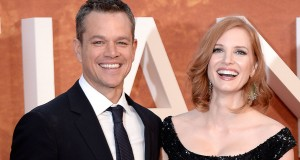 Matt Damon (left) and Jessica Chastain attend the European premier of The Martian at Odeon Leicester Square, London, UK, Thursday September 24, 2015. Photo by Anthony Devlin/PA Wire/ABACAPRESS.COM