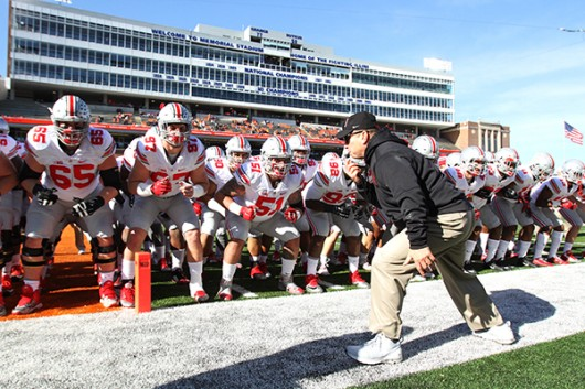 """Members of the Ohio State football team participate in the pregame """"quick cals"""" drill before OSU's 28-3 win in Champaign, Illinois on Nov. 14. Credit: Samantha Hollingshead 