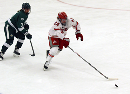Ohio State offensive junior Claudia Kepler (24) controls the puck during a game against Bemidji State University on Nov. 6 at St. John Arena. OSU lost 2-1. Credit: Eileen McClory | Senior Lantern Reporter