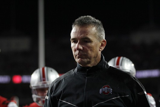 OSU coach Urban Meyer looks on after facing Michigan State on Nov. 21, 2015. OSU lost, 17-14. Credit: Lantern file photo