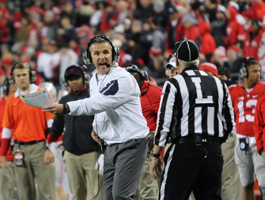 OSU coach Urban Meyer reacts to a call on the sideline during a game against Minnesota on Nov. 7 at Ohio Stadium. OSU won, 28-14. Credit: Samantha Hollingshead | Photo Editor