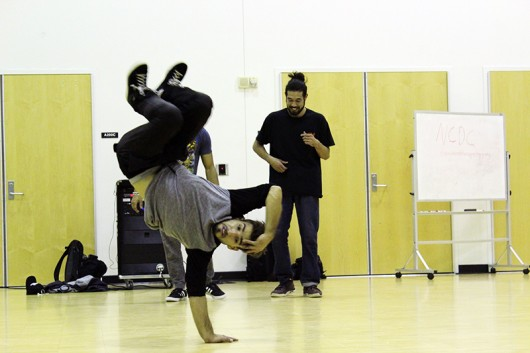 Members of the Ohio State Bboy Club show off some of their moves. Credit: Zak Kolesar | For The Lantern