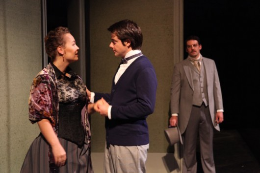 Ambre Shoneff as Catherine Stockmann, Zack Meyer as Dr. Thomas Stockmann and Blake Edwards as Peter Stockmann in a scene from The Ohio State University Department of Theatre's production of An Enemy of the People. Credit: Courtesy of Matt Hazard