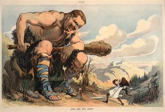 "Joseph Keppler. ""Jack and the Giant"". Puck, March 20, 1907. The Ohio State University, Billy Ireland Cartoon Library & Museum. Credit: Courtesy of Marilyn Scott"