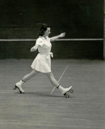 Helen Alkire teaching dance on roller skates, circa 1940. Credit: Courtesy of Dori Jenks