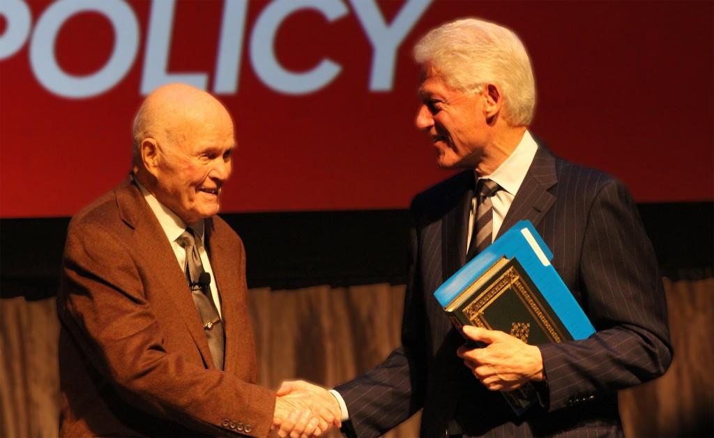 Former Sen. John Glenn (left) and Former President Bill Clinton (right) at the Mershon Auditorium on Nov. 19. Credit: Michael Huson / Campus Editor