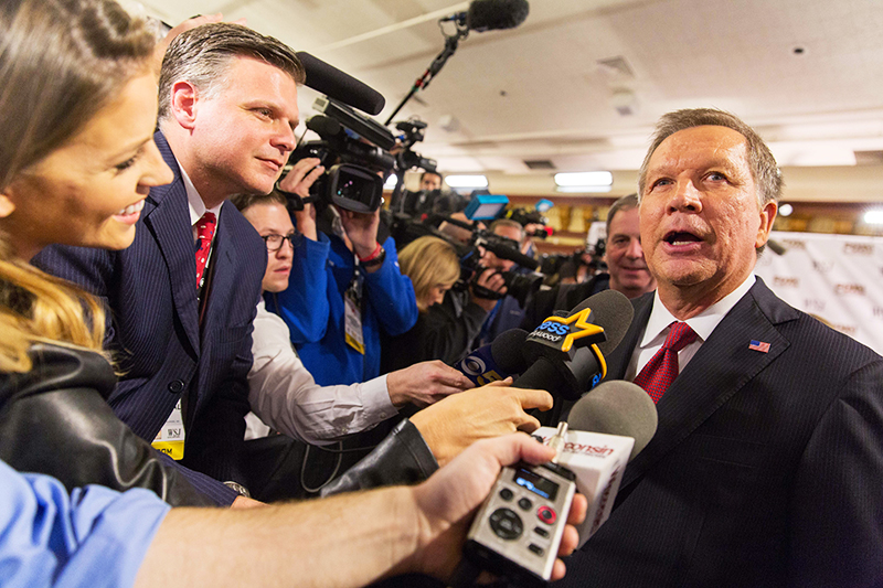 Ohio Governor John Kasich speaks to reporters following the second of two GOP Presidential debates at the Milwaukee Theatre on Nov. 10. Credit: Courtesy of TNS