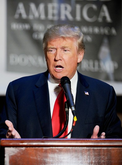 Republican presidential candidate Donald Trump speaks at a press conference before a public signing for his new book Crippled America: How to Make America Great Again, on Nov. 3. Credit: Courtesy of TNS