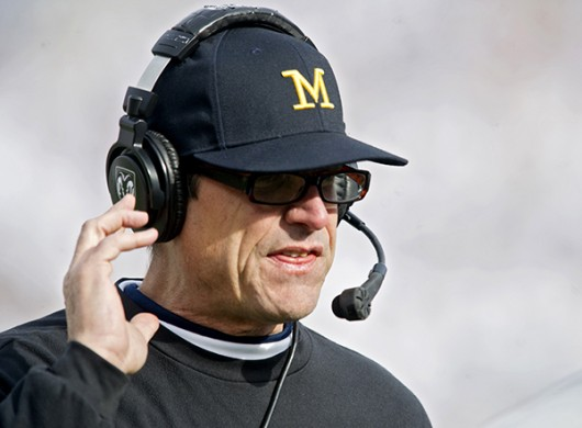 Michigan coach Jim Harbaugh watches action against Penn State on Saturday, Nov. 21 at Beaver Stadium in University Park, Pennsylvania. Michigan won 28-16. Credit: Courtesy of TNS