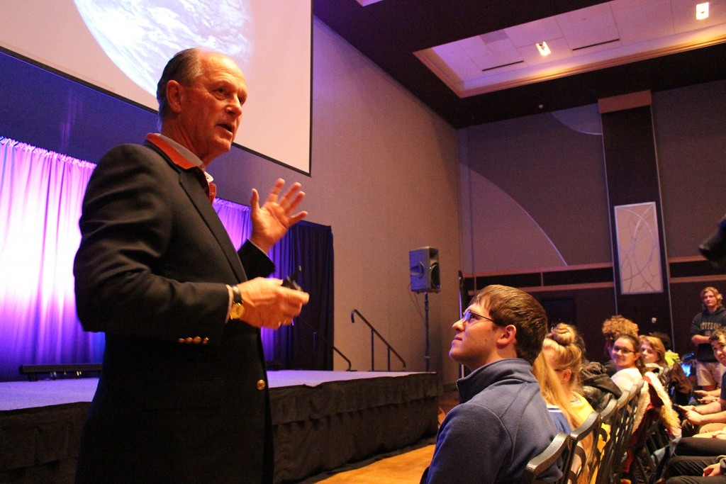 World Renowned Oceanographer Dr. Robert Ballard answers students' questions during his presentation at the Ohio Union on Monday, Nov. 9, 2015. Ian Bailey.615 | Lantern reporter