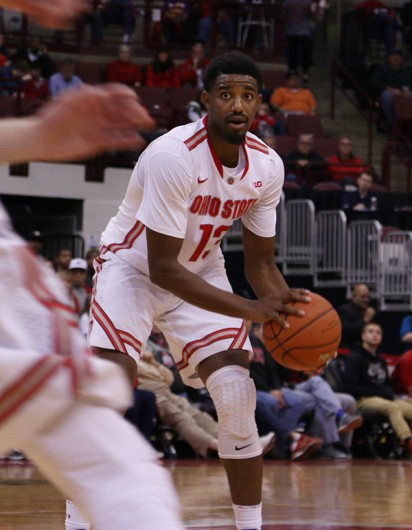 OSU freshman guard JaQuan Lyle (13) during an exhibition game against Walsh on Nov. 9 at the Schottenstein Center. Credit: Khalid Moalim | Multimedia Editor