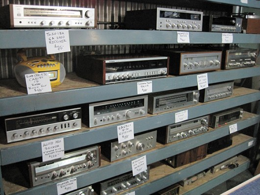 Some refurbished stereos at Used Kids Records located at 1980 N. High St. Credit: Hannah Herner | Lantern Reporter