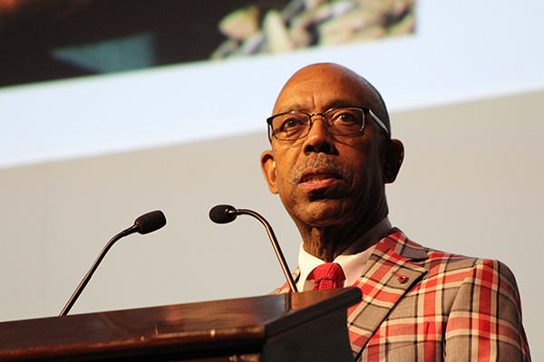 University President Michael Drake speaks at Brutus' 50th birthday gala on Nov. 6 at the Ohio Union. Credit: Michael Huson / Campus Editor