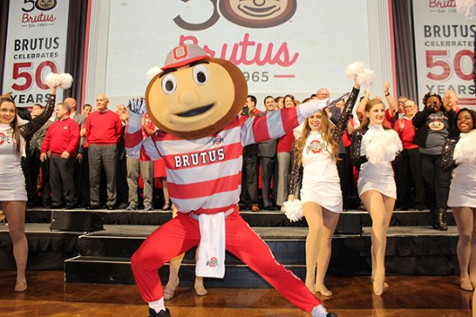Brutus rings in his 50th birthday on Nov. 6 with more than 50 former Bruti in the Archie Griffin Ballroom at the Ohio Union. Credit: Michael Huson   Managing Editor for Content
