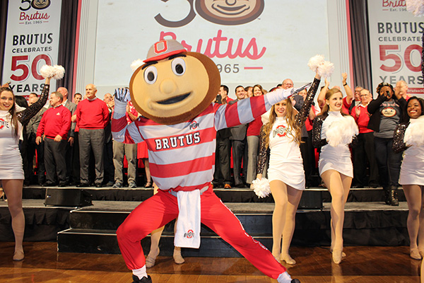 Brutus rings in his 50th birthday on Nov. 6 with more than 50 former Bruti in the Archie Griffin Ballroom at the Ohio Union. Credit: Michael Huson / Campus Editor