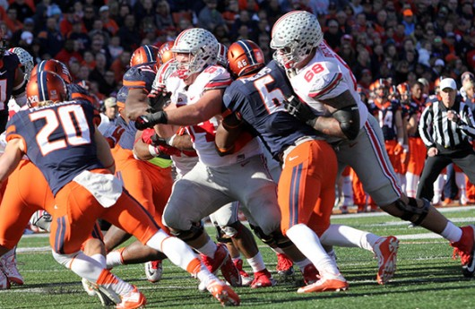 Former OSU offensive linemen Taylor Decker (68) blocks defender during a game against Illinois on Nov. 14 at Memorial Stadium in Champaign, Illinois. Credit: Samantha Hollingshead | Photo Editor