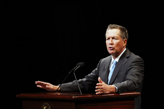 Gov. John Kasich speaks at his inauguration ceremony on Jan. 12 at the Southern Theatre in Columbus. Credit: Lantern File Photo