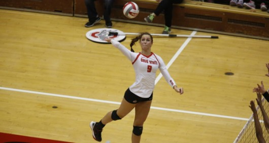 OSU sophomore outside hitter Audra Appold (9) during a game against Purdue on Oct. 16 at St. John Arena. Courtesy: OSU Athletics