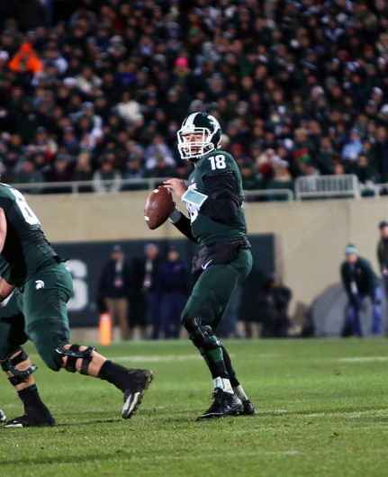 Michigan State then-redshirt junior quarterback Connor Cook (18) during a game against OSU on Nov. 8, 2014 at Ohio Stadium. Credit: Lantern File Photo