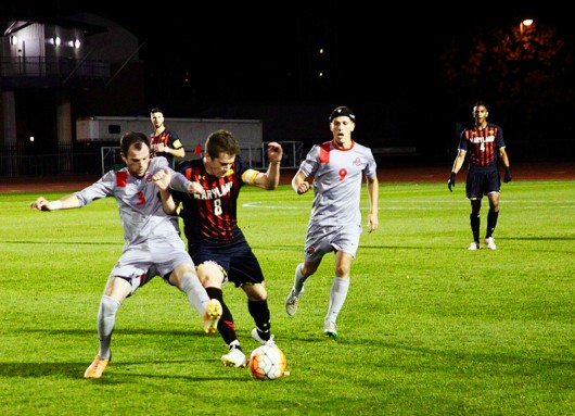 OSU senior midfielder Kyle Culbertson (3) and Maryland midfielder Mael Corboz (8) struggle to get the ball during a game at Jesse Owens Memorial Stadium on Oct. 31, 2015. OSU won 1-0. Photo Credit: Amanda Etchison | Editor in Chief