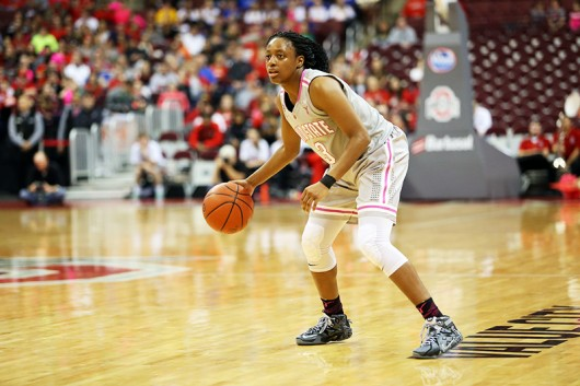 OSU then-freshman guard Kelsey Mitchell (3) dribbles the ball during a game against Indiana on Feb. 8 at the Schottenstein Center. Credit: Lantern File Photo