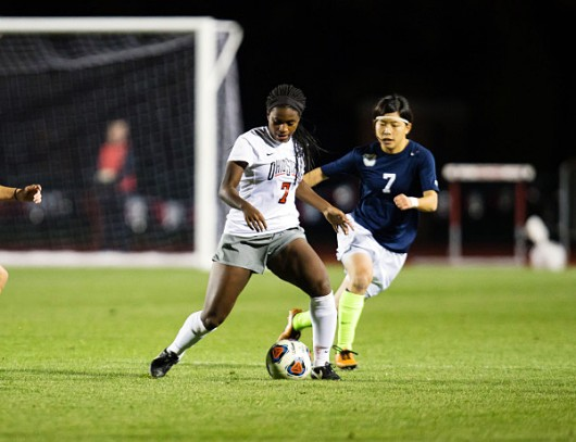 OSU junior forward Nichelle Prince (7)during a game against Butler on Nov. 14 at Jesse Owens Memorial Stadium. OSU won 2-1. Credit: Courtesy of OSU