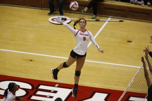 OSU freshman outside hitter Audra Appold (9) during a game against Purdue on Oct. 16 at St. John Arena. Credit: Courtesy of OSU