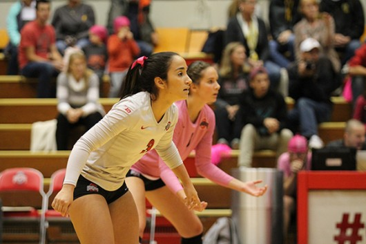 Junior defensive specialist Valeria León (3) looks on during a game against Iowa on Oct. 2 at St. John Arena. OSU won 3-2. Credit: Giustino Bovenzi / Lantern Photographer