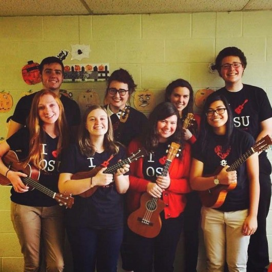 Members of the Ukulele club pose for a picture. Credit: Courtesy of Taylor Bryan