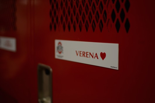 The name plate on Verena's locker inside the synchronized swimming team's locker room at the McCorkle Aquatic Pavilion. Credit: Kevin Stankiewicz | Assistant Sports Editor