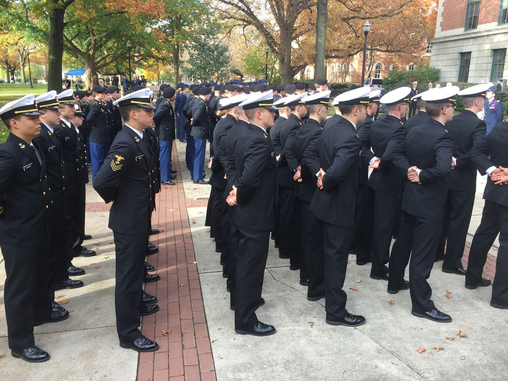 Ohio State Army, Navy and Air Force ROTC students participate in the annual Rock Ceremony on Thursday morning for Veteran's Day. Credit: Amanda Vaughn   News Director
