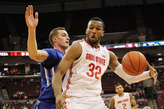 OSU redshirt sophomore center Trevor Thompson (32) posts up during a game against Air Force on Dec. 8 at the Schottenstein Center. OSU won 74-50. Credit: Samantha Hollingshead | Photo Editor