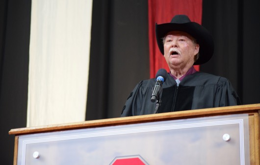 Frank Shankwitz, co-founder of the Make-A-Wish Foundation, gives his commencement address to graduating Ohio State students during Autumn Commencement 2015 on Dec. 20 in the Schottenstein Center. Credit: Robert Scarpinito | Copy Chief