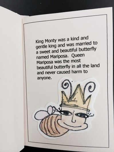 "A page from ""King Monty and the Creation of the Mantispid"" a book made by one of Anelli's former students. Credit: Courtesy of Carol Anelli"
