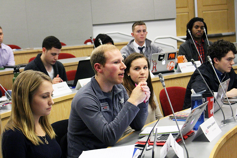 Andrew Jackson of USG speaks during the organization's meeting on Dec. 2. Credit: Jackie Hobson | Lantern Photographer