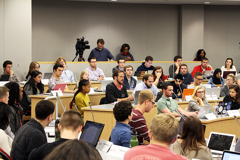 Members of USG during the group's meeting and vote on whether or not to end the Mirror Lake Jump on Dec. 2. Credit: Hannah Roth | Lantern Photographer