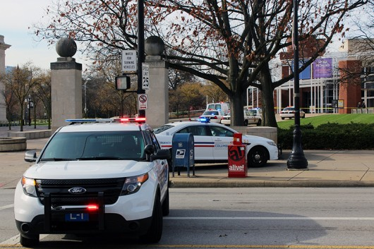Columbus Division of Police cruisers parked outside the Wexner Center for the Arts on Nov. 29. Credit: Michael Huson | Campus Editor
